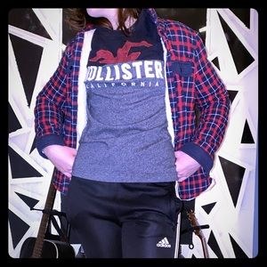 Black Grey And Red Hollister Long Sleeve T shirt